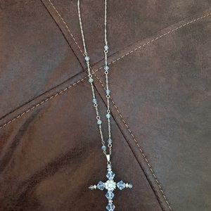 Periwinkle beaded cross